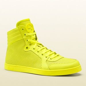 Gucci Neon Green High-Top Leather Sneaker